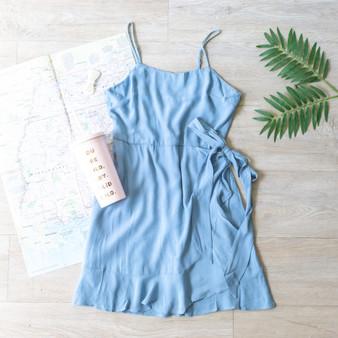 -Blue -Flowy -Ties -Ruffles -Wrap -Spaghetti Straps -Adjustable Straps -Dress -Lined  Material: 100% Viscose  D9069 DRESS BLU