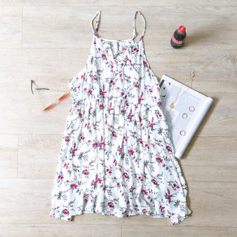 -Ivory -Red Floral Print -Lace-Up Detail -Adjustable Straps -Gold Metal -Flowy -Lined  Material: 100% Rayon  D9028 DRESS WHTF