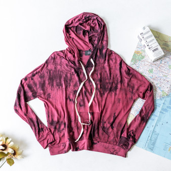 -Burgundy -Tie-Dye -Drawstring -Hood -Pocket -Long Sleeve -Fabric Stretches -Comes in 2 Colors   Material: 94% Rayon 6% Spandex  T4591 HOOD RTD