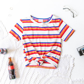 -Cream -Rainbow Stripes -Short Sleeve -Front Tie/Knot -T-Shirt -Unlined  Material: 70% Cotton 20% Polyester 10% Rayon