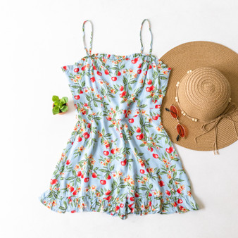 -Blue -Cherry/Floral Print -Ruffles -Adjustable Straps -Spaghetti Straps -Romper -Lined  Model is Wearing Size Small  Material: 100% Rayon  R4222 ROMP CHRY