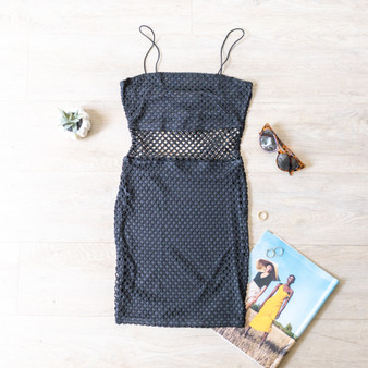 -Black -Fishnet -Bungee Straps -Dress -Lined -Fabric Stretches   Material: 95% Polyester 5% Spandex  D2192 DRESS NET