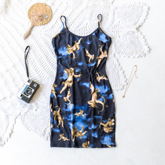 -Navy -Cupid/Night Time Sky -All Over Print -Spaghetti Straps -Adjustable Straps -Mini -Bodycon -Dress  Material: 95% Polyester 5% Spandex   D2658 DRESS ANGL