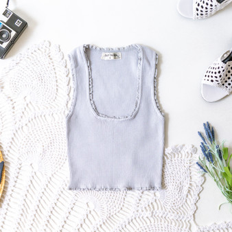 -Cool Gray -Ribbed -Lettuce Trim -Bodycon -Skirt -Fabric Stretches -Comes in 3 Colors -Set  Model is Wearing Size Small  Material: 75% Rayon 25% Nylon  S1170 CROP BLU
