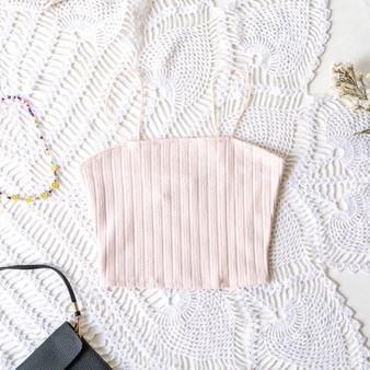 -Pastel Pink -Ribbed -Bungee Straps -Crop -Top -Fabric Stretches -Comes in 2 Colors  Material: 7% Cotton 68% Polyester 5% Spandex  T8059 CROP WHT