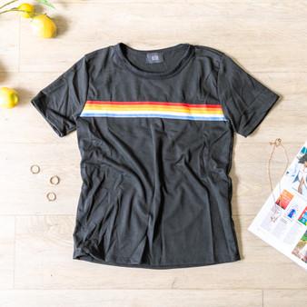 -Black -Rainbow Stripe -Short Sleeve -T-Shirt -Unlined   T5304 TEE BLKS