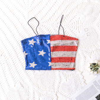 -USA Flag -Sequins -Bungee Straps -Un-Lined -Crop -Top  Material: 95% Polyester 5% Spandex  T6562 TUBE FLAG