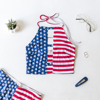 -USA Flag -Sequins -Lined -Halter -Top -Fabric Stretches -Set  Material: 65% Rayon 30% Polyester 5% Spandex  T4417 CROP FLAG