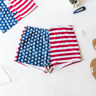 -USA Flag -Sequins -Mini -Lined -Shorts -Fabric Stretches -Set  Material: 65% Rayon 30% Polyester 5% Spandex  P1201 SHORT FLAG