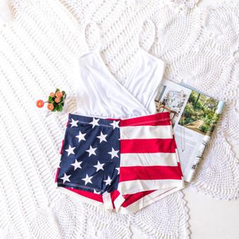 -USA Flag -Mini -Shorts -Fabric Stretches  Material: 95% Rayon 5% Spandex  P1204 SHORTS FLAG