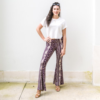 -Plum -Boho -Striped -Flare -Pants -Bell Bottoms -Comes in 6 Colors -Material Stretches  Model is Wearing Size Medium  Material: 95% Polyester 5% Spandex  P1587 PANT NVYP
