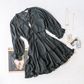 -Black -V-Neck -Ruffles -Peasant Sleeves -Open Back -Elastic Waist -Dress -Lined -Comes in 3 Colors  Material: Self: 100% Polyester Lining: 100% Cotton  FL20F111-DRESS-BLK
