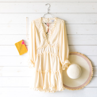 -Cream -V-Neck -Ruffles -Peasant Sleeves -Open Back -Elastic Waist -Dress -Lined -Comes in 3 Colors  Model is Wearing Size Small  Material: Self: 100% Polyester Lining: 100% Cotton  FL20F111-DRESS-CRM