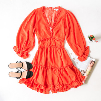 -Coral -V-Neck -Ruffles -Peasant Sleeves -Open Back -Elastic Waist -Dress -Lined -Comes in 3 Colors  Material: Self: 100% Polyester Lining: 100% Cotton  FL20F111-DRESS-ORG