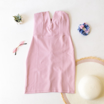-Blush Pink -V-Neck -Metal Wire -Zipper -Hook and Eye Clasp -Mini -Dress -Lined -Comes in 3 Colors  Material: 97% Polyester 3% Spandex  FL20F502-DRESS-PNK