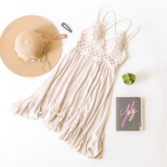 -Cream -Lace -Bra Top -Flowy -Spaghetti Straps -Adjustable Straps -Sundress -Lined -Comes in 2 Colors  Material: Self: 100% Rayon Lace/Lining: 100% Polyester  FL20F673-DRESS-TAN