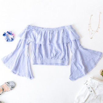 -Lavender -Fringe Hem -Off-Shoulder -Elastic Waist -Bell Sleeves -Ruffles -Crop -Top -Unlined -Comes in 4 Colors  Material: 100% Cotton  FL20F701-CROP-PRP