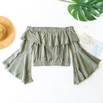 -Olive -Fringe Hem -Off-Shoulder -Elastic Waist -Bell Sleeves -Ruffles -Crop -Top -Unlined -Comes in 4 Colors  Material: 100% Cotton  FL20F701-CROP-OLV
