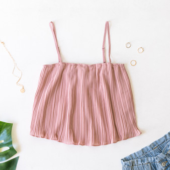-Mauve -Pleated -Ruffles -Spaghetti Straps -Adjustable Straps -Cami/Tank -Lined -Comes in 5 Colors  Material: 100% Polyester  FL20F729-TANK-PNK