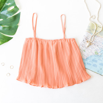 -Peach -Pleated -Ruffles -Spaghetti Straps -Adjustable Straps -Cami/Tank -Lined -Comes in 5 Colors  Material: 100% Polyester  FL20F729-TANK-ORG