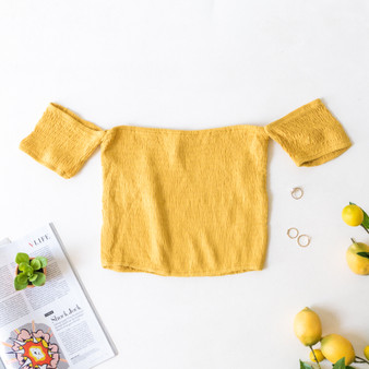 -Mustard -Smocked -Off-Shoulder -Crop -Top -Fabric Stretches -Comes in 3 Colors  Model is Wearing Size Small  Material: 100% Rayon  TI3752-CROP-YEL