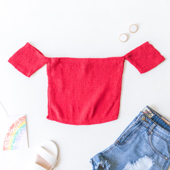 -Red -Smocked -Off-Shoulder -Crop -Top -Fabric Stretches -Comes in 3 Colors  Material: 100% Rayon  TI3752-CROP-RED