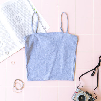 -Heather Gray -Spaghetti Straps -Adjustable Straps -Cami -Unlined -Fabric Stretches -Comes in 4 Colors  Material: 94% Cotton 6% Spandex  BW4069-TANK-GRY