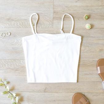 -White -Spaghetti Straps -Adjustable Straps -Cami -Unlined -Fabric Stretches -Comes in 4 Colors  Material: 94% Cotton 6% Spandex  BW4069-TANK-WHT