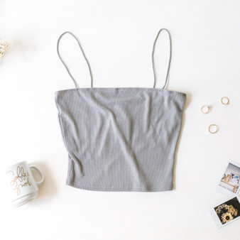 -Gray -Bungee Straps -Cami -Unlined -Fabric Stretches  Material: 100% Polyester  BC2044-TANK-GRY