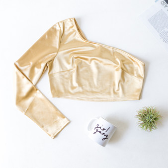-Gold -One Shoulder -Long Sleeve -Crop -Fabric Stretches -Comes in 4 Colors  Material: 95% Polyester 5% Spandex  BC2054-TOP-TSAT