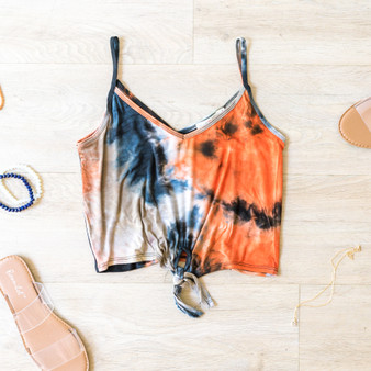 -Orange and Blue -Tie-Dye -Front-Tie -Spaghetti Straps -Tank -Fabric Stretches -Comes in 2 Colors  Material: 95% Rayon 5% Spandex  AC38898T44-TANK-BLKTD