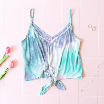 -Pink and Mint -Tie-Dye -Front-Tie -Spaghetti Straps -Tank -Fabric Stretches -Comes in 2 Colors  Material: 95% Rayon 5% Spandex  AC38898T44-TANK-BLUTD