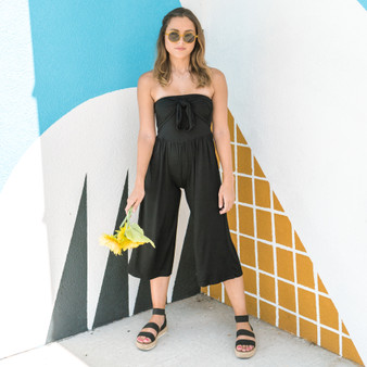 -Black -Front-Tie -Strapless -Mid-Length -Jumpsuit -Unlined -Fabric Stretches -Comes in 2 Colors  Model is Wearing Size Small  Material: 95% Rayon 5% Spandex  AR35176-JMPR-BLK