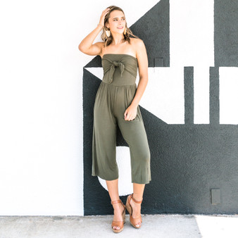 -Olive -Front-Tie -Strapless -Mid-Length -Jumpsuit -Unlined -Fabric Stretches -Comes in 2 Colors  Model is Wearing Size  Material: 95% Rayon 5% Spandex  AR35176-JMPR-OLV