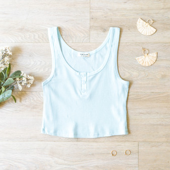 -Soft Blue -Waffle -Buttons -Scoop Neck -Tank -Fabric Stretches -Comes in 3 Colors  Material: 60% Cotton 35% Rayon 5% Spandex   JK38480 CROP BLU