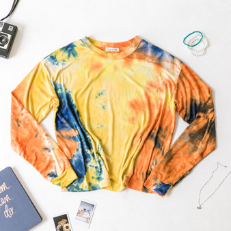 -Orange and Blue -Tie-Dye -Long Sleeve -Tee -Fabric Stretches -Comes in 2 Colors  Material: 96% Polyester 4% Spandex  JT36658LT13 TOP YELTD