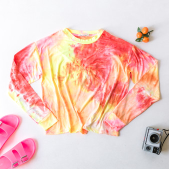 -Pink and Yellow -Tie-Dye -Long Sleeve -Tee -Fabric Stretches -Comes in 2 Colors  Material: 96% Polyester 4% Spandex  JT36658LT13 TOP PNKTD