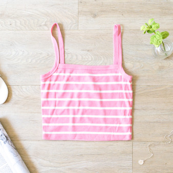-Pink -Striped -Ribbed -Spaghetti Straps -Square Neck -Tank -Fabric Stretches -Comes in 3 Colors  Material: 66% Rayon 29% Polyester 5% Spandex  RC35153S CROP PNKS