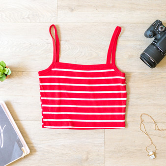-Red -Striped -Ribbed -Spaghetti Straps -Square Neck -Tank -Fabric Stretches -Comes in 3 Colors  Material: 66% Rayon 29% Polyester 5% Spandex  RC35153S CROP REDS