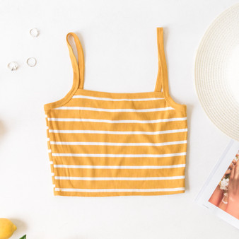-Mustard -Striped -Ribbed -Spaghetti Straps -Square Neck -Tank -Fabric Stretches -Comes in 3 Colors  Material: 66% Rayon 29% Polyester 5% Spandex  RC35153S CROP YELS