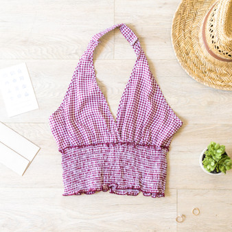 -Burgundy -Gingham -Smocked Botton -Halter -Top -Comes in 2 Colors  Material: 100% Rayon  WK32132 HALT RGNG