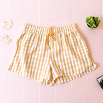 -Sand -Stripes -Drawstring -Pockets -Shorts -Comes in 3 Colors  Material: 55% Linen 45% Cotton  WP36900VS SHORT YELS