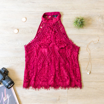 -Wine -Lace -High-Neck -Button Closure -Key Hole in Back -Tank -Lined -Comes in 2 Colors   Material: 60% Cotton 40% Nylon  OT58510 TANK WIN