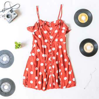 -Brick Red -White Polka Dots -Ruffles -Key Hole Back -Spaghetti Straps -Adjustable Straps -Side Zipper -Lined -Dress  Material: 100% Rayon  D20908 DRESS REDD