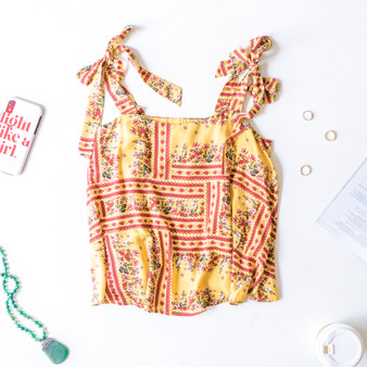 -Mustard -Boho Print -Tie Strap -Square Neck -Lined -Tank  Material: 100% Rayon  T6479 TANK YELP