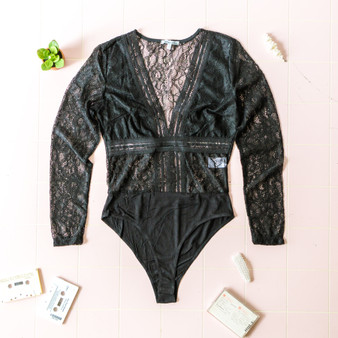 -Black -Lace -Deep V -Long Sleeve -Snap Closure -Partially Lined -Bodysuit  Material: 100% Nylon  B55450 BSUIT BLKL