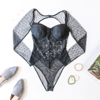 -Black -Lace -Polka Dots -Floral -Sweetheart  -Snap Closure -Long Sleeve -Open Back -High Leg -Hook and Eye -Bodysuit -Unlined  Material: 85% Nylon 15% Rayon  HMT53917 BSUIT BLK