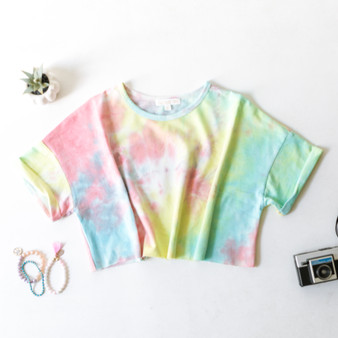 -Rainbow -Tie-Dye -Cropped -Cuffed Sleeves -Fabric Stretches -T-Shirt -Comes in 2 Colors  Material: 100% Polyester  CT1228 TEE PTD