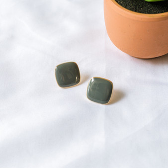 -Gray -Gold -Rounded Square -Stud -Earrings