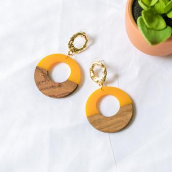-Gold -Mustard -Wood -Round -Dangle -Earrings